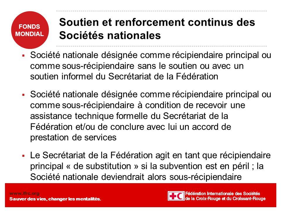 Soutien et renforcement continus des Sociétés nationales
