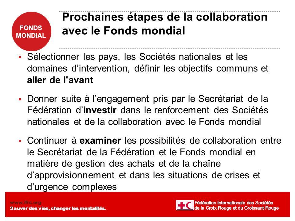 Prochaines étapes de la collaboration avec le Fonds mondial