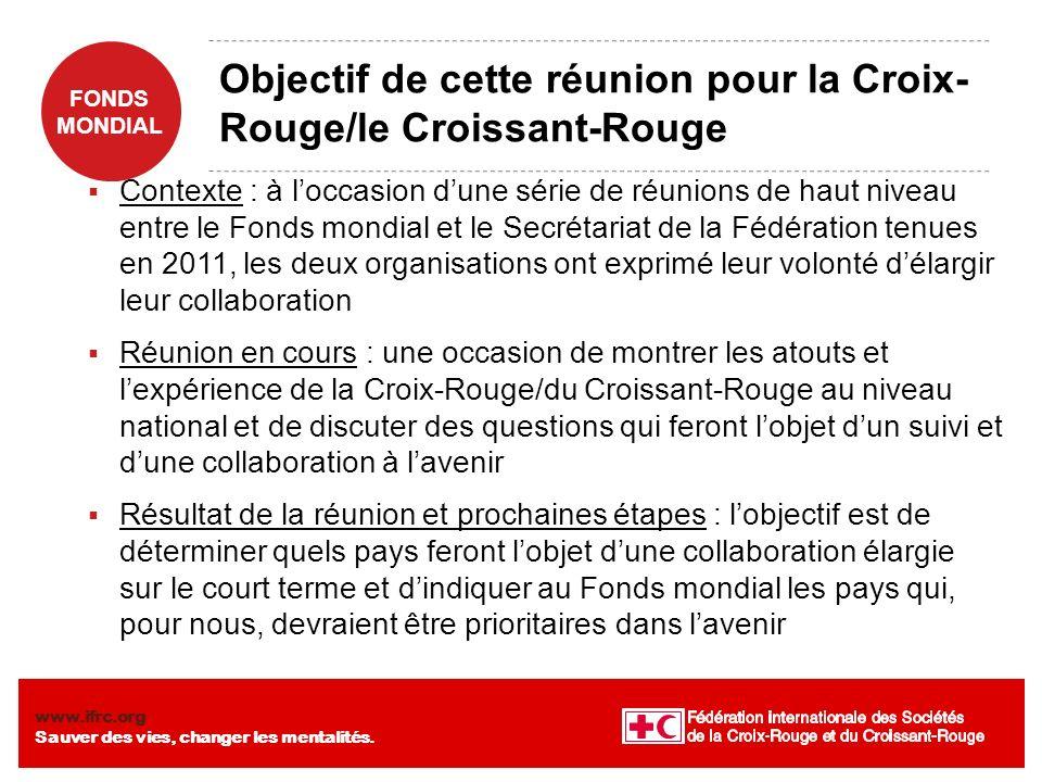 Objectif de cette réunion pour la Croix-Rouge/le Croissant-Rouge