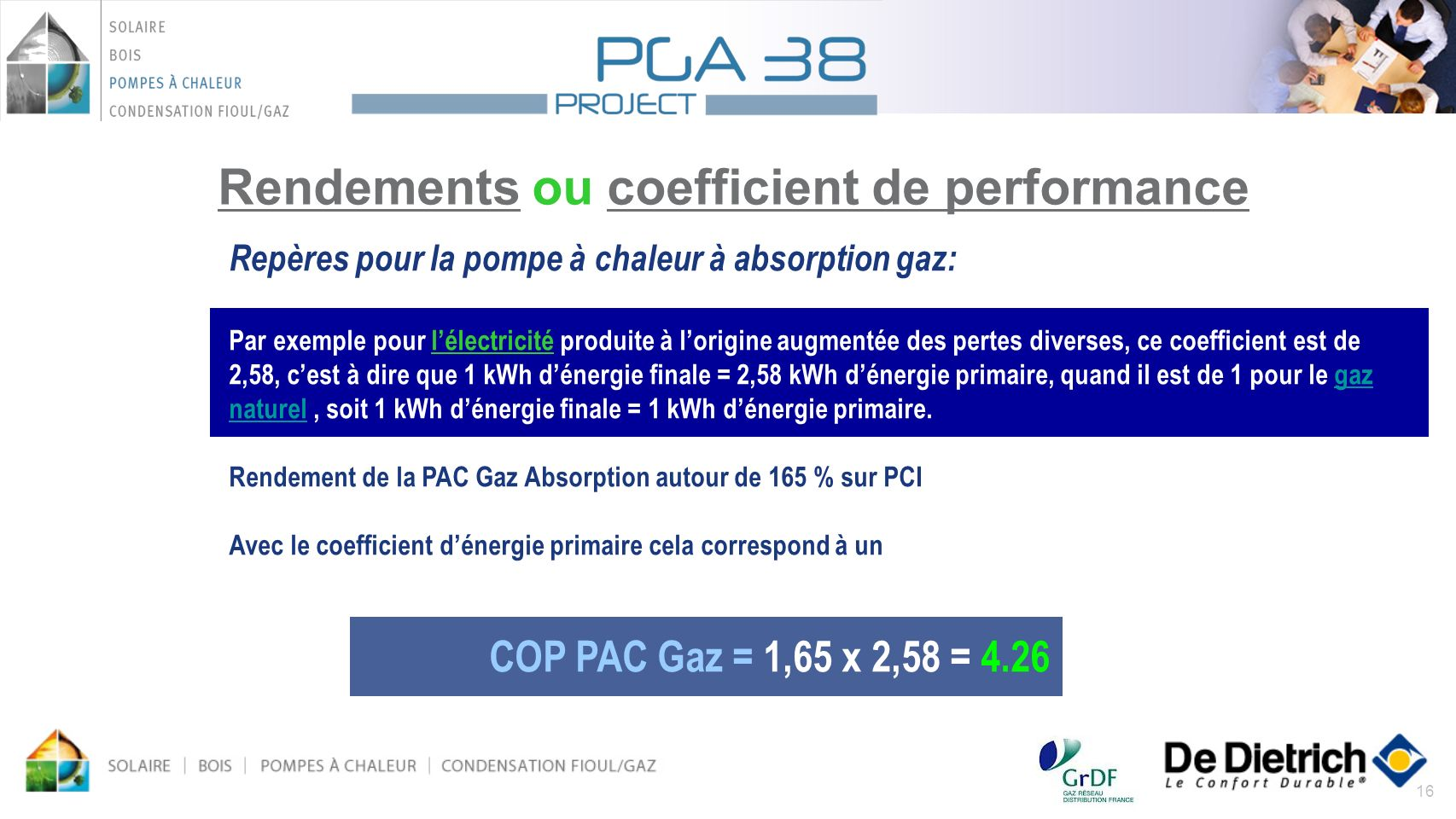 Rendements ou coefficient de performance