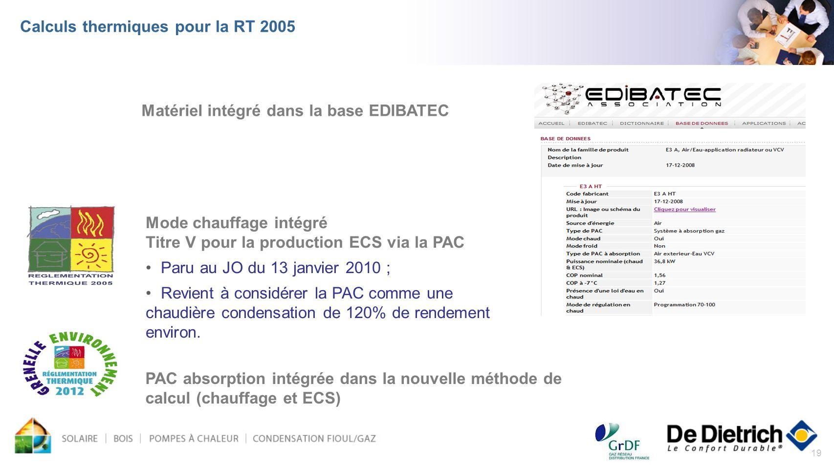 Calculs thermiques pour la RT 2005