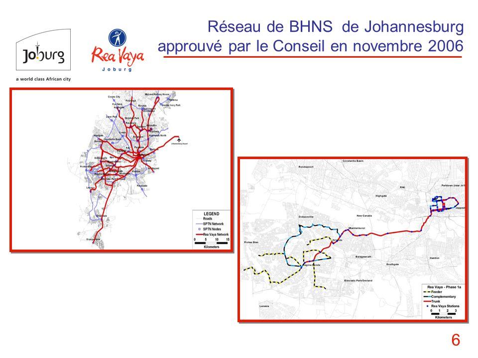 Réseau de BHNS de Johannesburg approuvé par le Conseil en novembre 2006