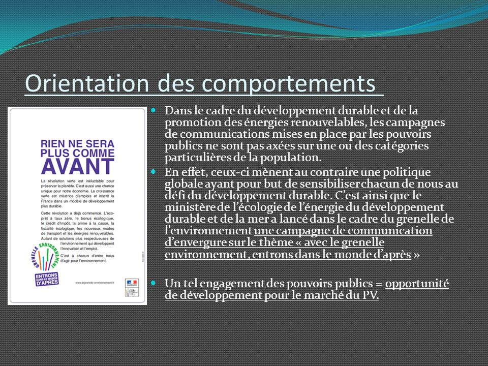 Orientation des comportements
