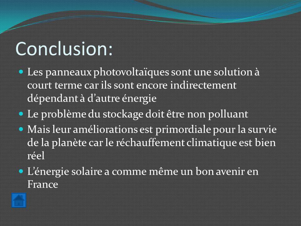 Conclusion: Les panneaux photovoltaïques sont une solution à court terme car ils sont encore indirectement dépendant à d'autre énergie.