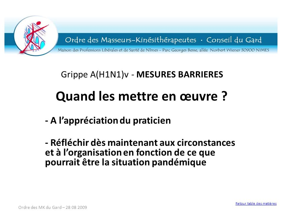 Grippe A(H1N1)v - MESURES BARRIERES