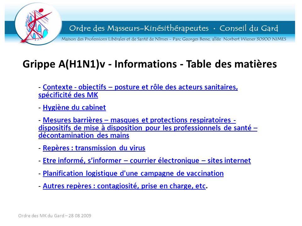 Grippe A(H1N1)v - Informations - Table des matières