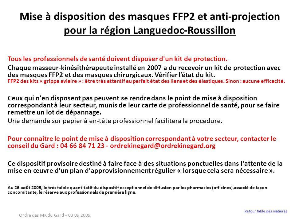 Mise à disposition des masques FFP2 et anti-projection