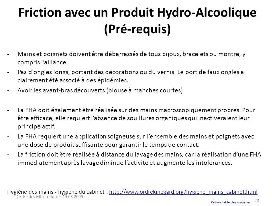 Friction avec un Produit Hydro-Alcoolique (Pré-requis)
