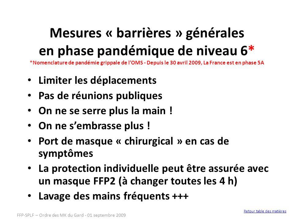 Mesures « barrières » générales en phase pandémique de niveau 6