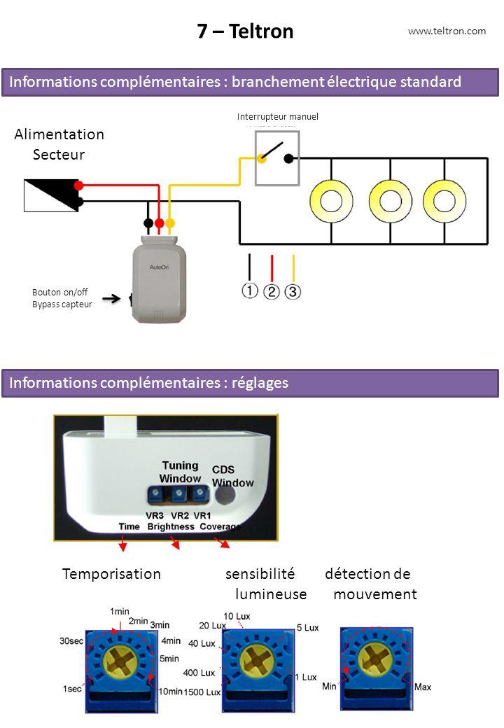 7 – Teltron www.teltron.com. Informations complémentaires : branchement électrique standard. Interrupteur manuel.