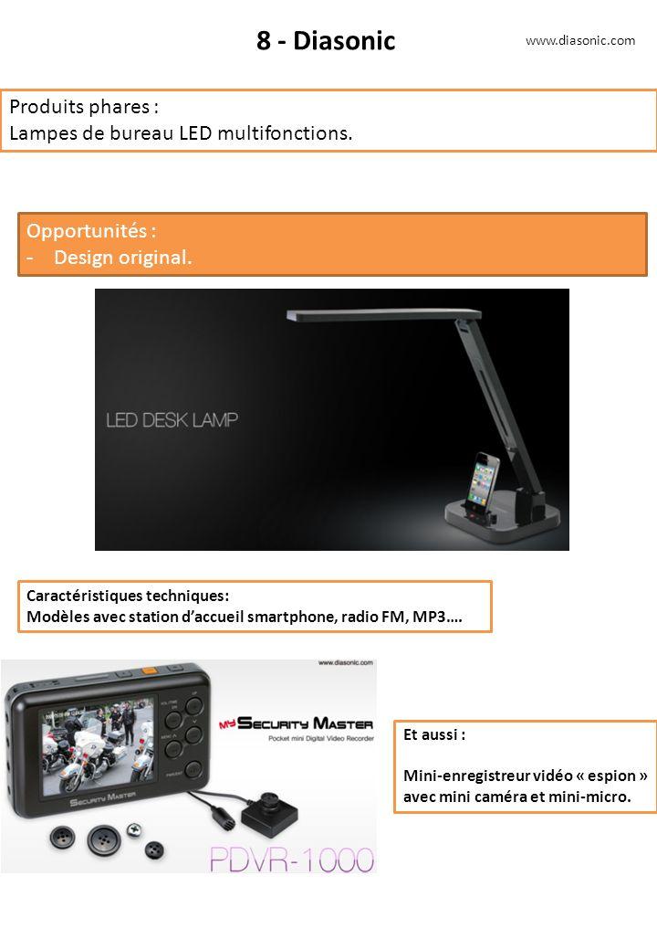 8 - Diasonic Produits phares : Lampes de bureau LED multifonctions.