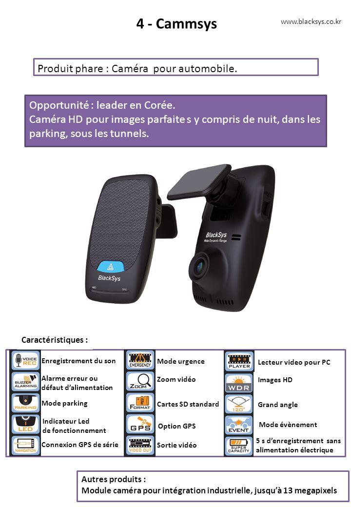 4 - Cammsys Produit phare : Caméra pour automobile.
