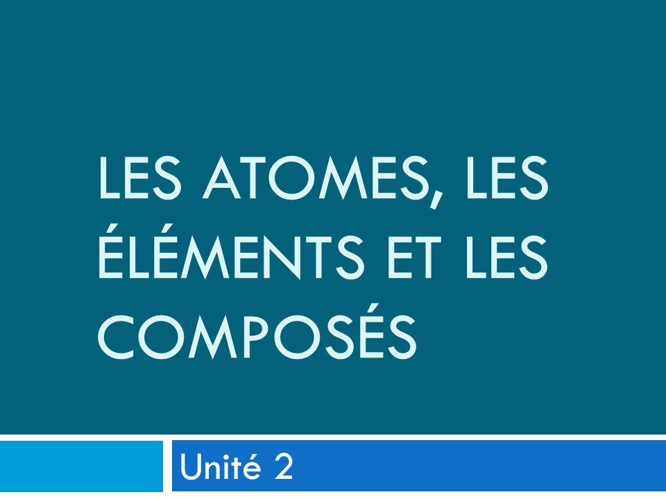 Les atomes, les éléments et les composés