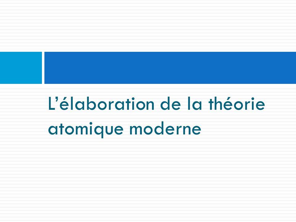 L'élaboration de la théorie atomique moderne