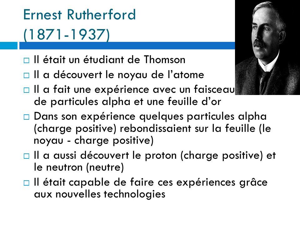 Ernest Rutherford (1871-1937) Il était un étudiant de Thomson