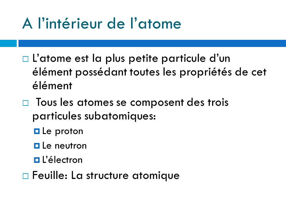 A l'intérieur de l'atome