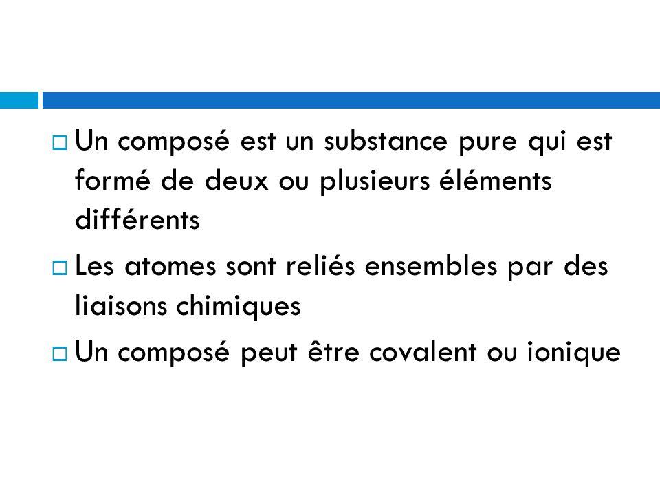 Un composé est un substance pure qui est formé de deux ou plusieurs éléments différents