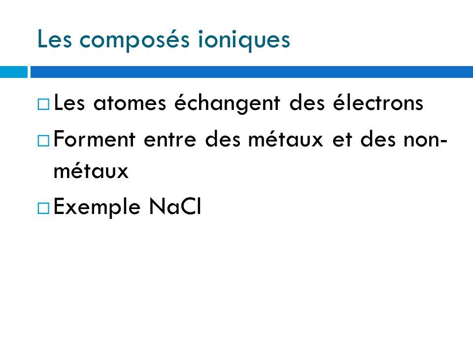 Les composés ioniques Les atomes échangent des électrons