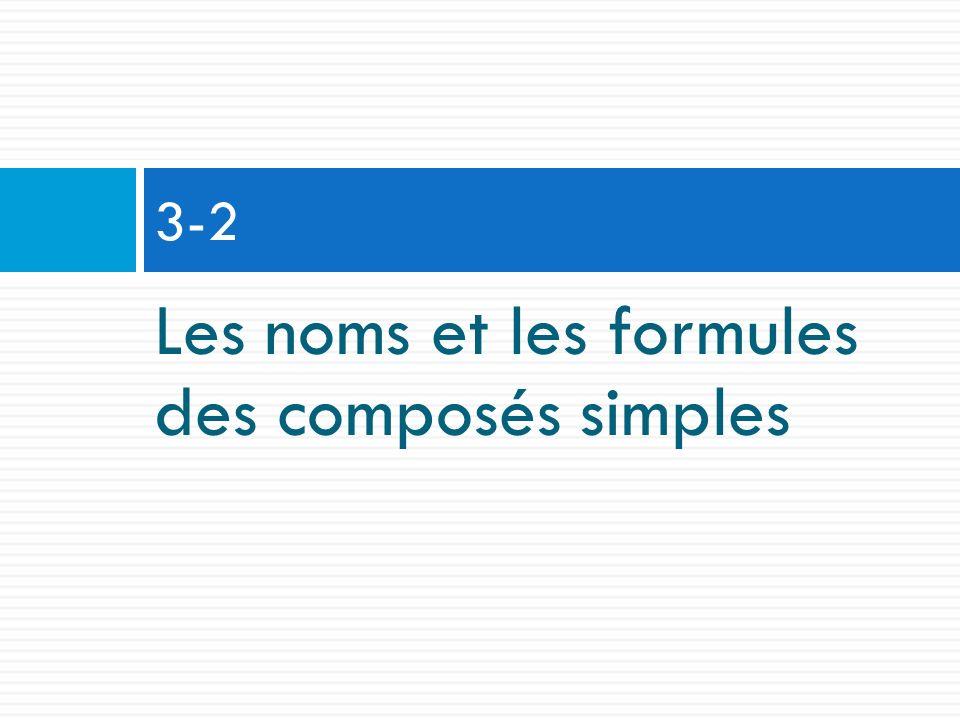Les noms et les formules des composés simples