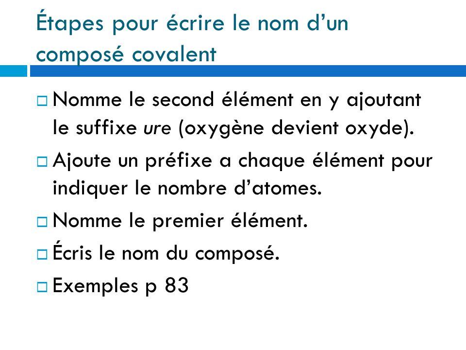 Étapes pour écrire le nom d'un composé covalent