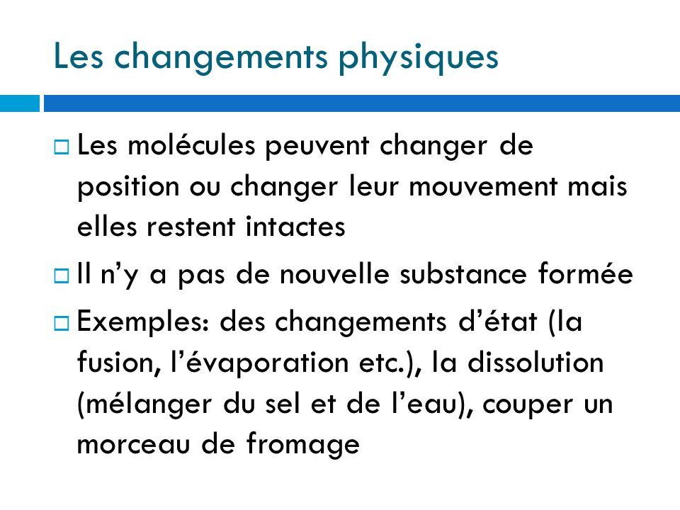 Les changements physiques