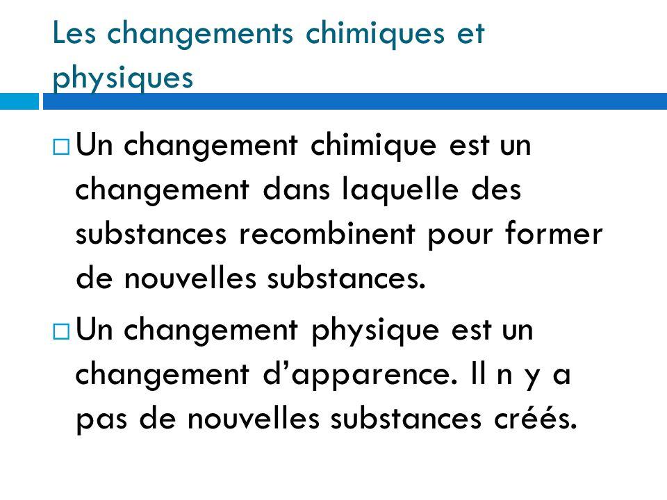 Les changements chimiques et physiques