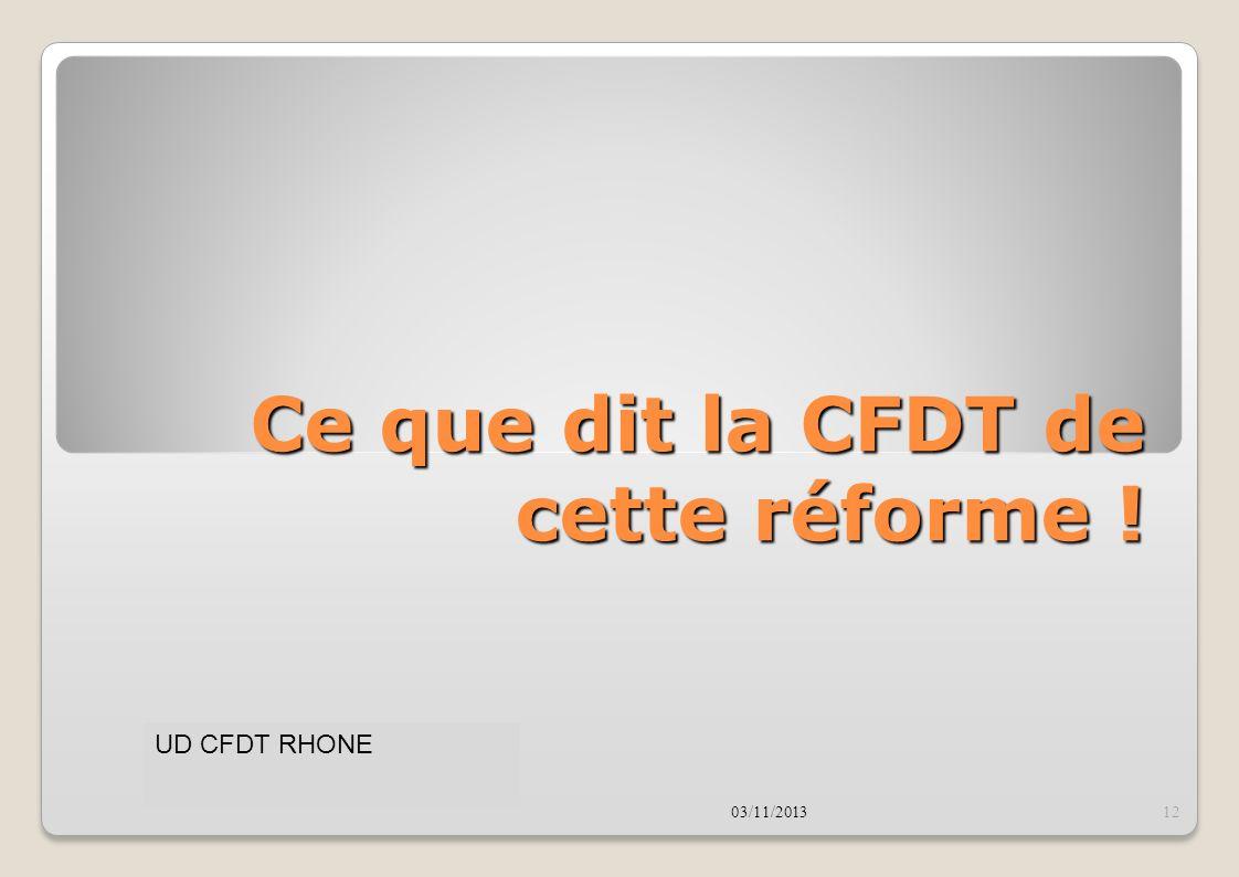 Ce que dit la CFDT de cette réforme !