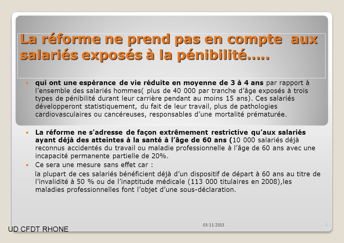 La réforme ne prend pas en compte aux salariés exposés à la pénibilité…..