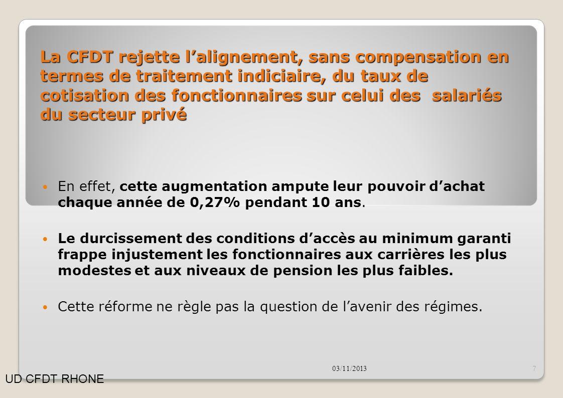 La CFDT rejette l'alignement, sans compensation en termes de traitement indiciaire, du taux de cotisation des fonctionnaires sur celui des salariés du secteur privé