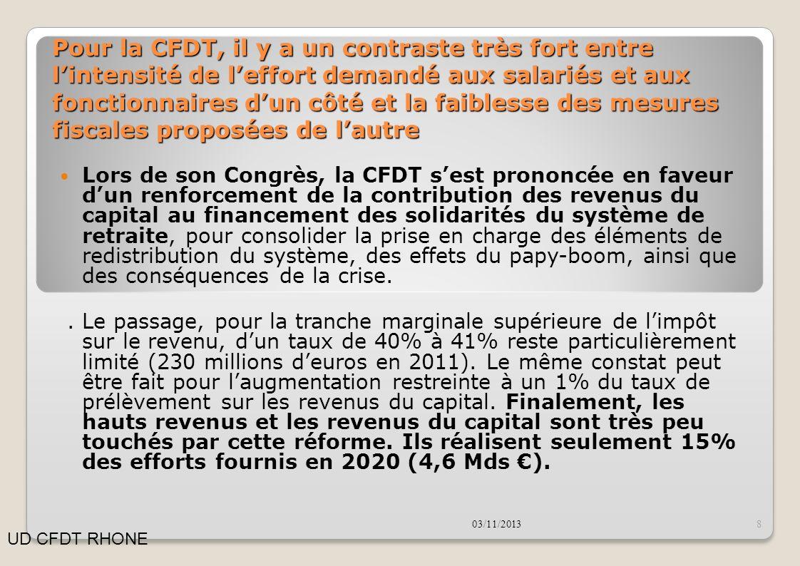 Pour la CFDT, il y a un contraste très fort entre l'intensité de l'effort demandé aux salariés et aux fonctionnaires d'un côté et la faiblesse des mesures fiscales proposées de l'autre