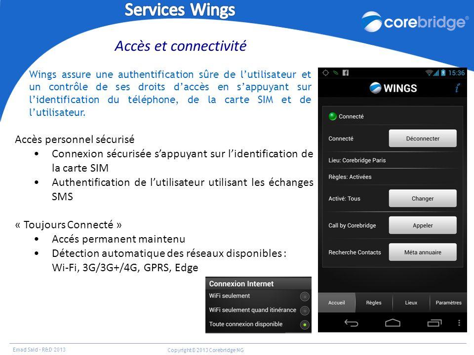 Services Wings Accès et connectivité Accès personnel sécurisé