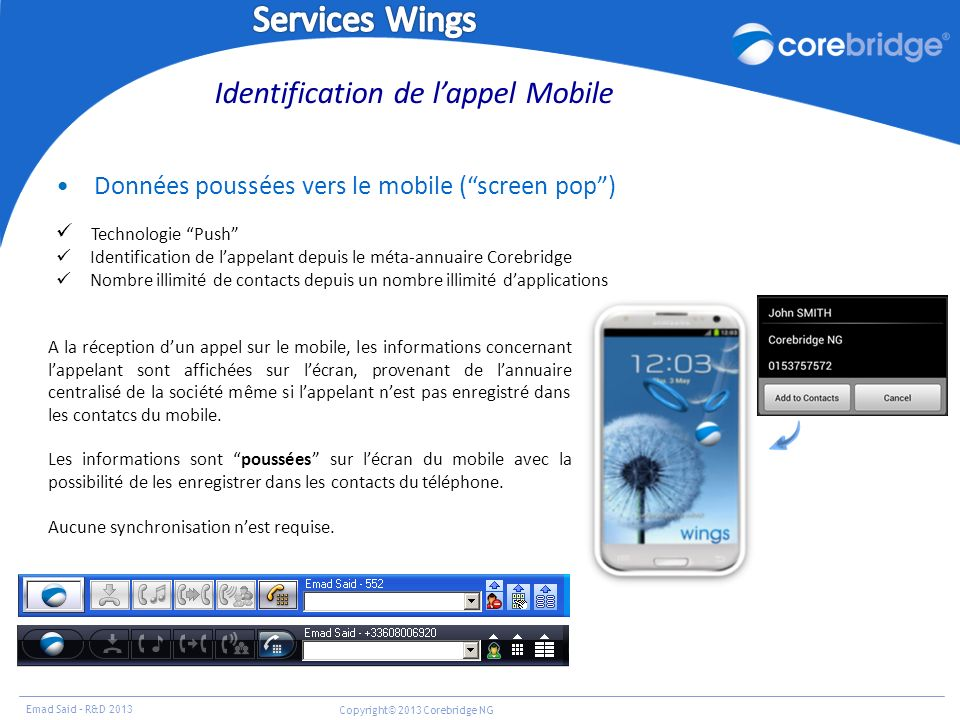 Identification de l'appel Mobile