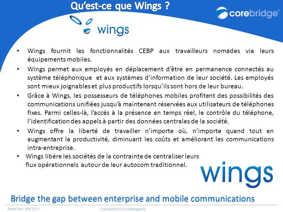 Qu'est-ce que Wings 30/03/2017. Wings fournit les fonctionnalités CEBP aux travailleurs nomades via leurs équipements mobiles.