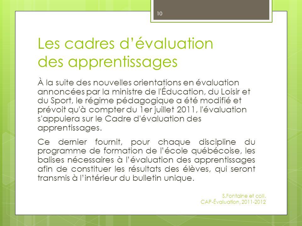 Les cadres d'évaluation des apprentissages
