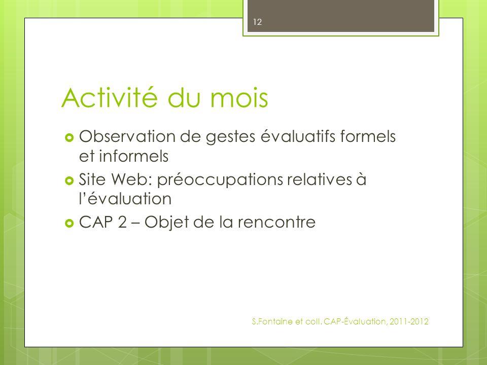 Activité du mois Observation de gestes évaluatifs formels et informels