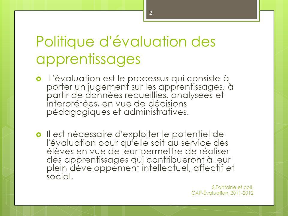 Politique d'évaluation des apprentissages