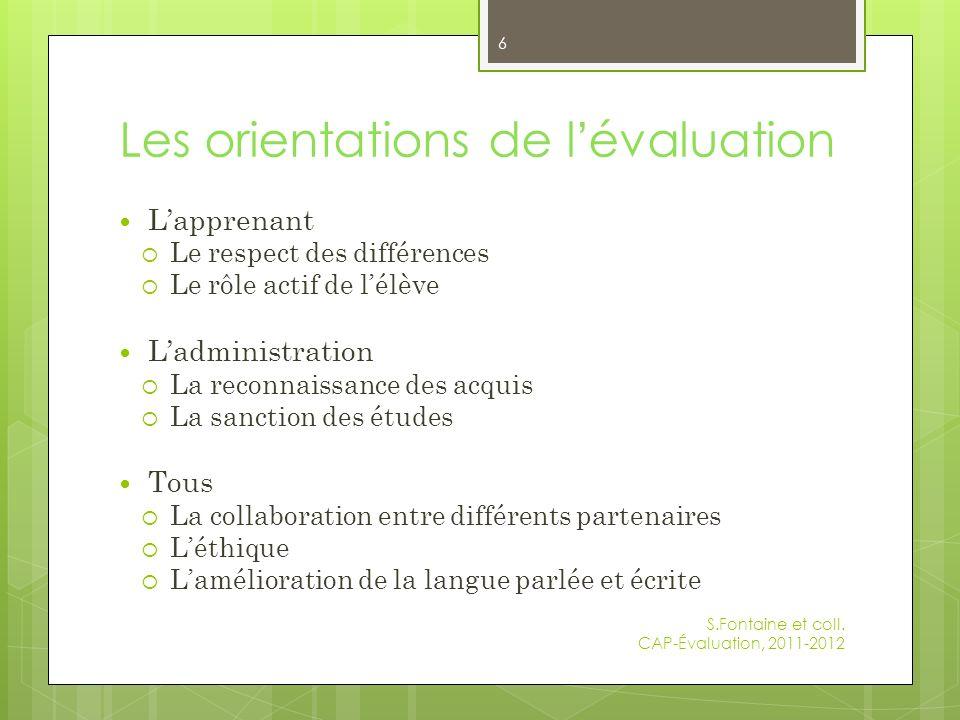 Les orientations de l'évaluation
