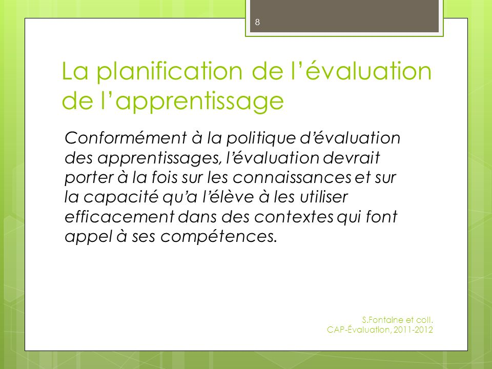 La planification de l'évaluation de l'apprentissage