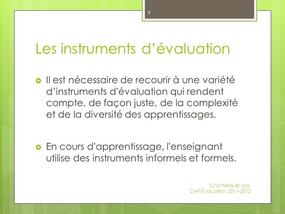Les instruments d'évaluation