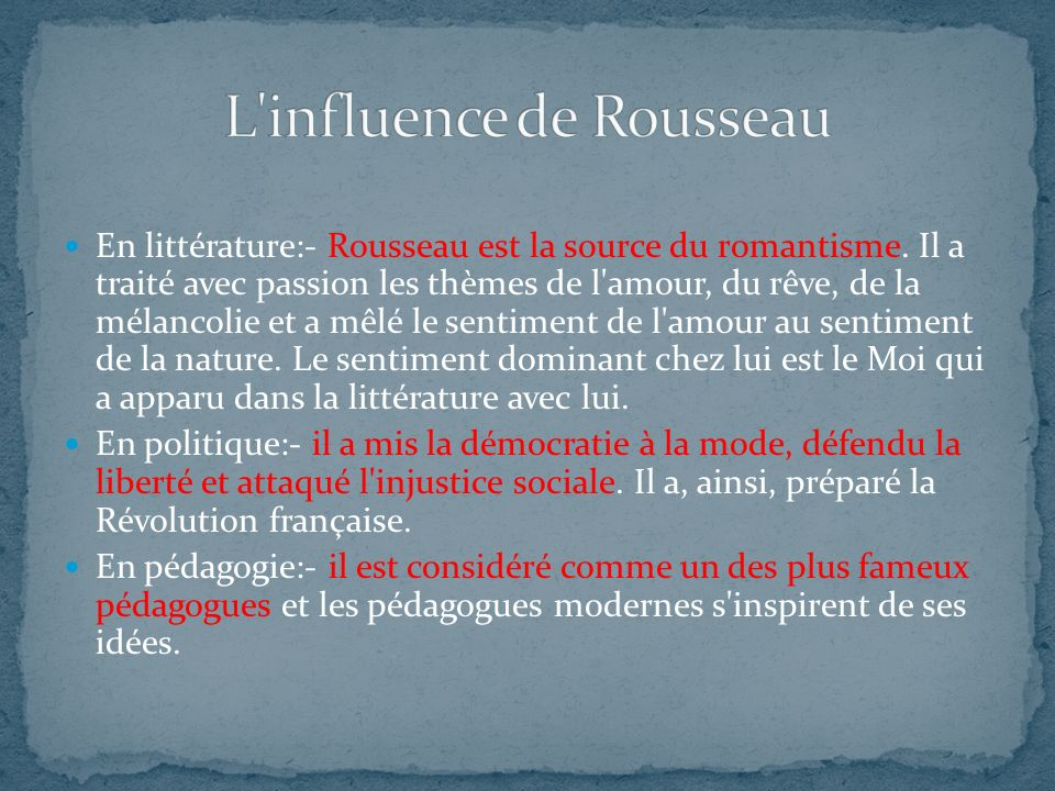 L influence de Rousseau