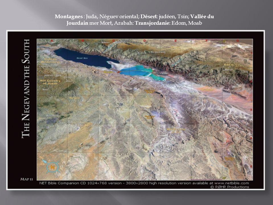 Montagnes : Juda, Néguev oriental; Désert: judéen, Tsin; Vallée du Jourdain mer Mort, Arabah: Transjordanie: Edom, Moab