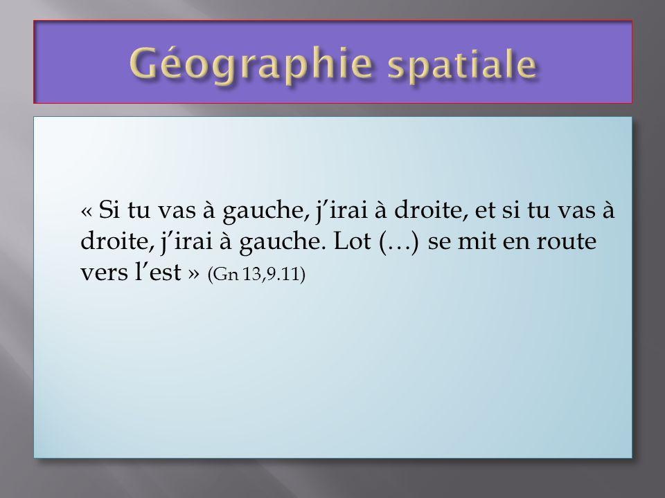 Géographie spatiale« Si tu vas à gauche, j'irai à droite, et si tu vas à droite, j'irai à gauche. Lot (…) se mit en route vers l'est » (Gn 13,9.11)