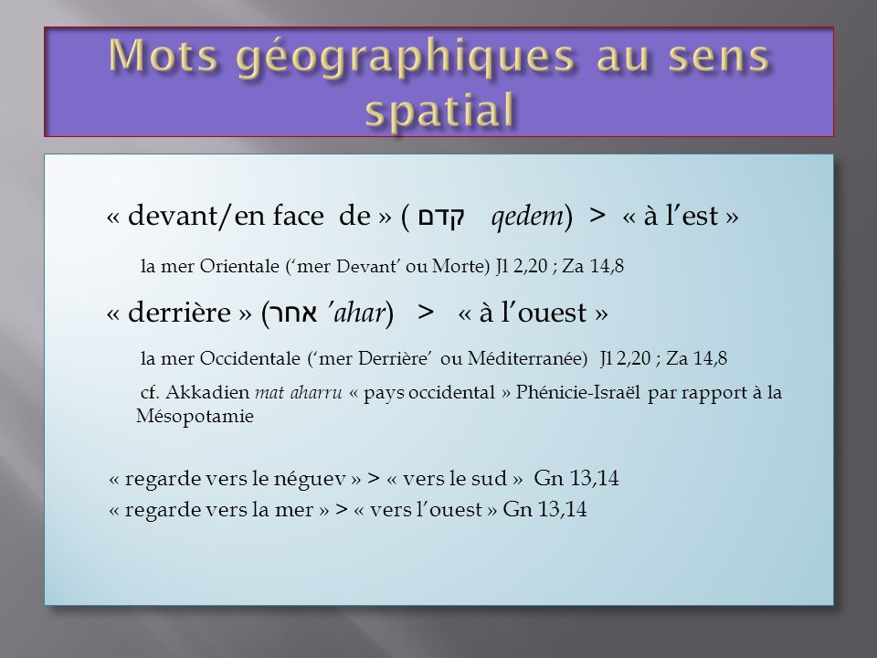 Mots géographiques au sens spatial