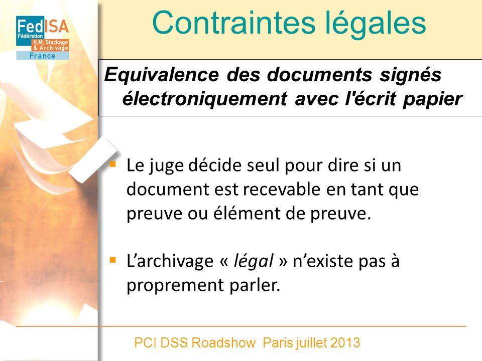Contraintes légales Equivalence des documents signés électroniquement avec l écrit papier.