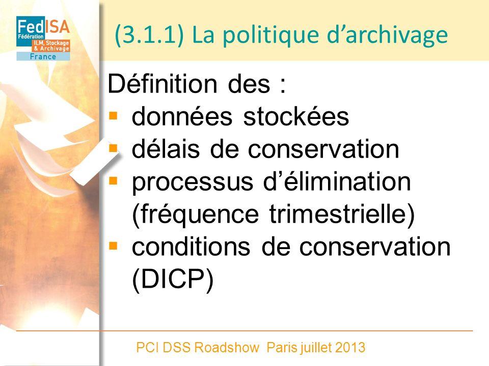 (3.1.1) La politique d'archivage