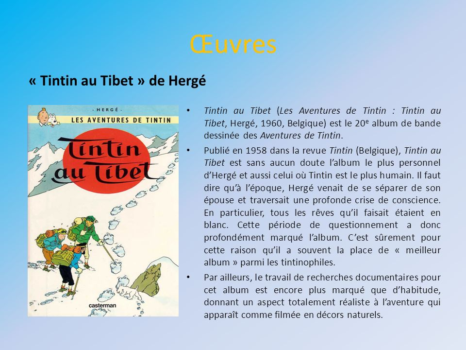 Œuvres « Tintin au Tibet » de Hergé