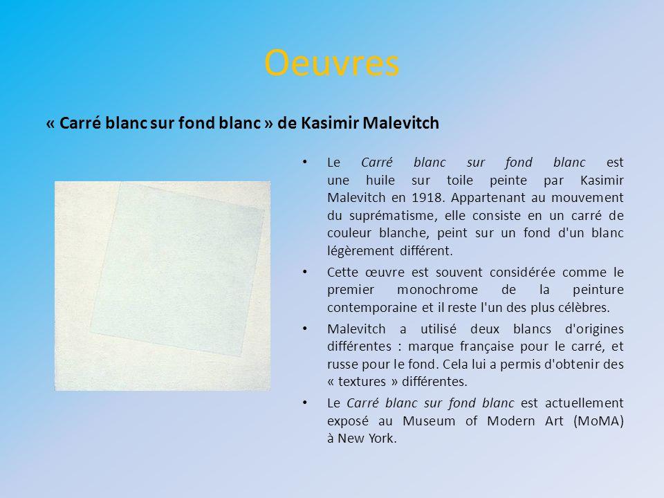 Oeuvres « Carré blanc sur fond blanc » de Kasimir Malevitch