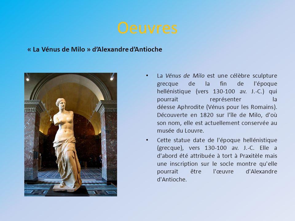 Oeuvres « La Vénus de Milo » d'Alexandre d'Antioche