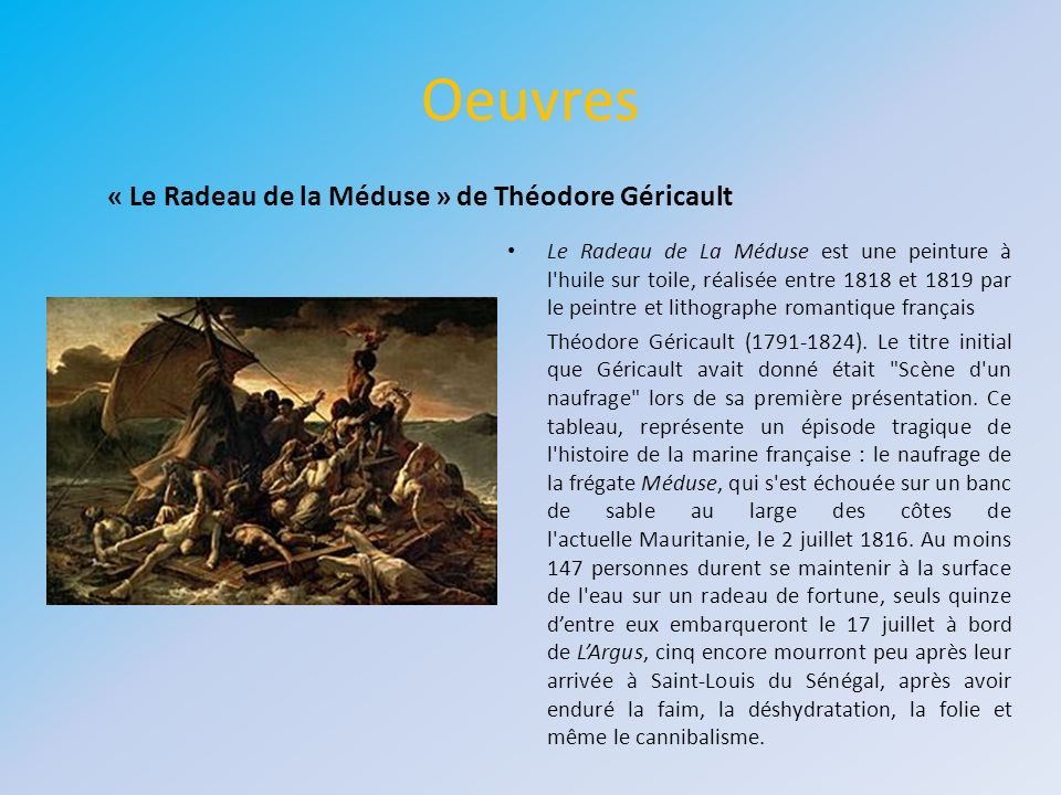 Oeuvres « Le Radeau de la Méduse » de Théodore Géricault