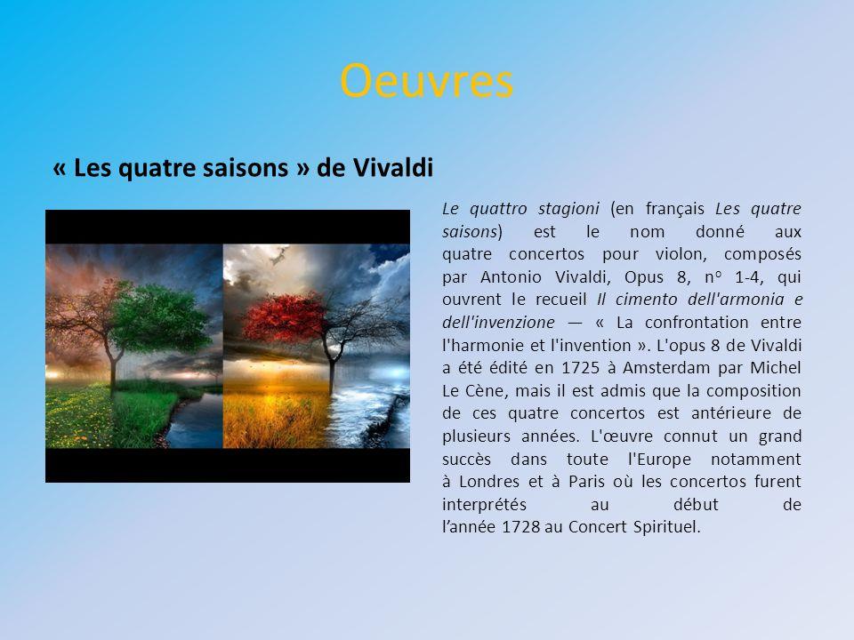 Oeuvres « Les quatre saisons » de Vivaldi